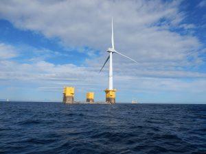 洋上からの浮体式風力発電施設