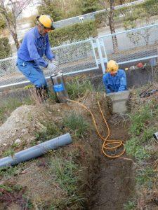 広野工場の排水管工事